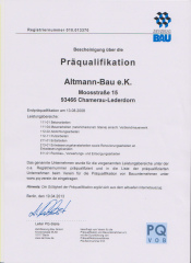 Präqualifikation Altmann-Bau e.K. | PQ VOB