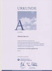 Anerkannter Ausbildungsbetrieb Altmann-Bau e.K. | HwO